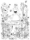 Fille de zentangl d'illustration de vecteur s'asseyant sur le champignon Le conte de fées, griffonnage fleurit, lapin, carotte, f Image libre de droits