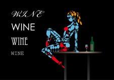Fille des verres de vin Images libres de droits
