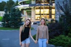 Fille deux avec du charme des mains et du sourire européens de prise d'aspect, Photographie stock libre de droits