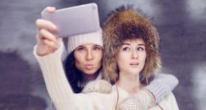 Fille deux dans des chapeaux de fourrure d'hiver faisant le selfie au téléphone photos stock