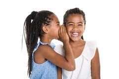 Fille deux jumelle africaine adorable sur le fond de blanc de studio photo libre de droits