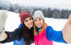 Fille deux prenant la photo de Selfie sur la neige futée d'hiver de jeune femme de montagne de Milou de téléphone Photographie stock