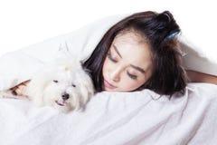 Fille dormant avec un chien sous la couverture Images libres de droits