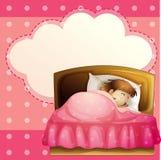 Fille dormant dans sa chambre à coucher solidement avec la légende Photo stock