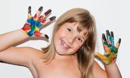 Fille drôle peinte Photos stock