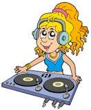 Fille du DJ de dessin animé Photo libre de droits