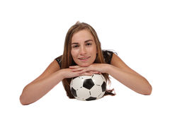 Fille du football Photos stock