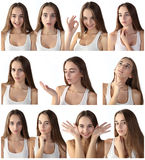 Fille effectuant des expressions faciales Photographie stock libre de droits