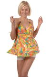 Fille en danse de robe d'été Photos stock