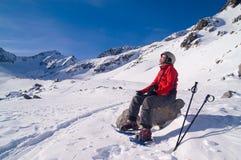 Fille en montagnes de l'hiver Photo stock