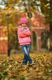 Fille en parc d'automne Image stock