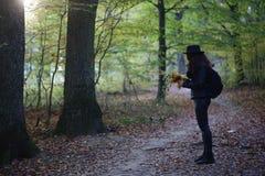 Fille en parc d'automne Photo stock