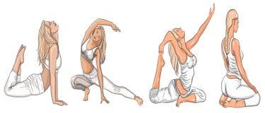 Fille en position de yoga Yoga femelle Dirigez l'illustration de la belle femme de bande dessinée dans diverses poses de yoga illustration libre de droits