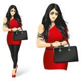 Fille en rouge Femme à la mode, sexy, fascinante Photo libre de droits