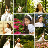Fille en son premier jour de communion Images stock