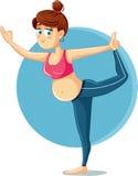 Fille enceinte dans la bande dessinée de vecteur de pose de yoga illustration libre de droits