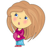 Fille enceinte de dessin animé. Photographie stock libre de droits