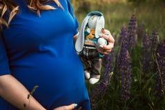 Fille enceinte tenant un lapin de jouet photos stock