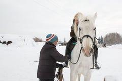 Fille, entraîneur de cheval et cheval blanc un hiver Image libre de droits