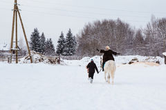 Fille, entraîneur de cheval et cheval blanc un hiver Photographie stock