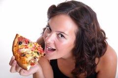 Fille environ pour manger de la pizza Photos stock