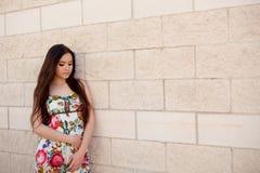 Fille espagnole de brune avec de longs cheveux Images stock