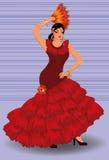 Fille espagnole de danseur de flamenco avec le ventilateur illustration libre de droits