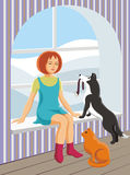 Fille et animaux familiers Images stock