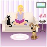 Fille et animaux familiers Image libre de droits