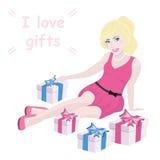 Fille et boîte-cadeau blonds avec le texte Images libres de droits