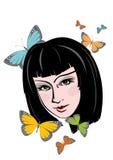 Fille et butterflys Image libre de droits