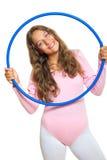 Fille et cercle bleu Photos libres de droits