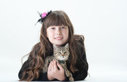 Fille et chat Photos stock