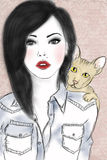 Fille et chat illustration libre de droits