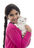 Fille et chat Images stock