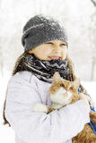 Fille et chat Photographie stock