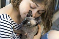 Fille et chat de t, un animal familier chauve de race le Sphynx canadien Photo stock