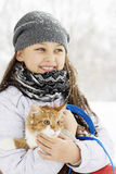 Fille et chaton Photographie stock