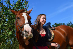 Fille et cheval Photo stock