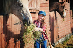 Fille et cheval Photographie stock