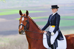 Fille et cheval de dressage photo stock