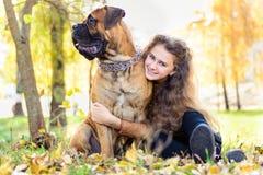 Fille et chien de l'adolescence Photographie stock libre de droits