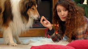 Fille et chien mangeant des biscuits à l'arbre de Noël banque de vidéos
