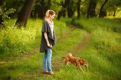 Fille et chien Shiba Inu de promenade Photo libre de droits