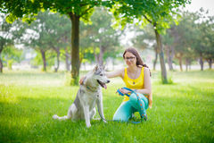 Fille et chien sur la pelouse Image libre de droits