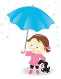 Fille et chiot avec le parapluie Images stock