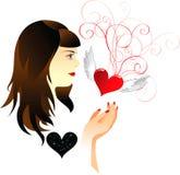 Fille et coeur illustration de vecteur