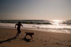 Fille et crabot fonctionnant sur la plage Image libre de droits