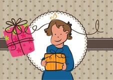 Fille et deux cadeaux Photos libres de droits