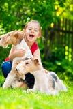 Fille et deux chiens terriers de renard Photos libres de droits